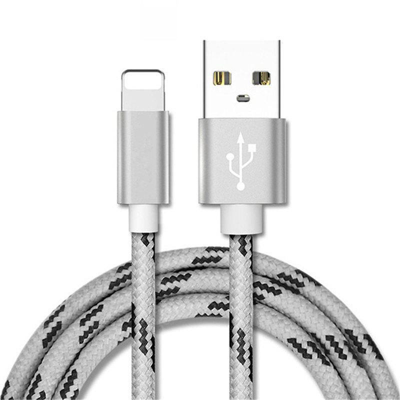 1m Cable for iPhone Metal shell Gold-plated Connector Braided Wire