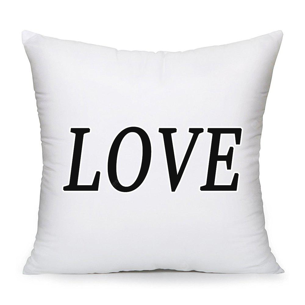 Black And White Simple Love Oath Cotton Cushion Pillowcase