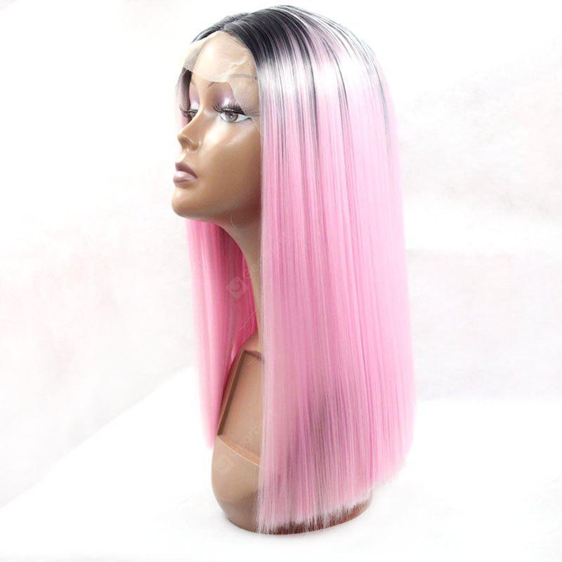 Short Middle Part Dark Pink Ombre Straight Hair Synthetic Lace Front Wig 16INCH DARK PINK OMBRE