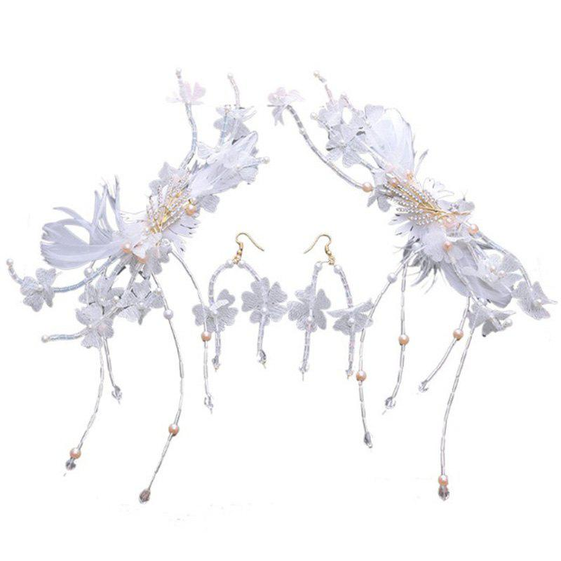 1 Pair White Feather Crystal Hair Hairpin and 1 Pair Earrings Jewelry Set for Women