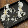 1 Pair White Feather Crystal Hair Hairpin and 1 Pair Earrings Jewelry Set for Women - WHITE