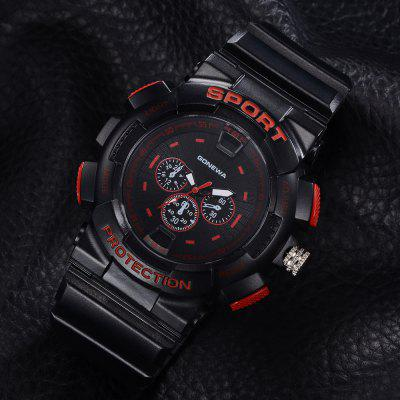 GON041 Men Silicon Band Analog Quartz Sport WatchMens Watches<br>GON041 Men Silicon Band Analog Quartz Sport Watch<br><br>Band material: Silicone<br>Band size: 27 x 2.3 CM<br>Case material: Alloy<br>Clasp type: Pin buckle<br>Dial size: 5.3 x 5.3 x 1.3 CM<br>Display type: Analog<br>Movement type: Quartz watch<br>Package Contents: 1 x Watch<br>Package size (L x W x H): 29.50 x 6.50 x 1.40 cm / 11.61 x 2.56 x 0.55 inches<br>Package weight: 0.0510 kg<br>Product size (L x W x H): 27.00 x 5.30 x 1.30 cm / 10.63 x 2.09 x 0.51 inches<br>Product weight: 0.0490 kg<br>Shape of the dial: Round<br>Watch mirror: Mineral glass<br>Watch style: Retro, Business, Fashion, Casual<br>Watches categories: Men