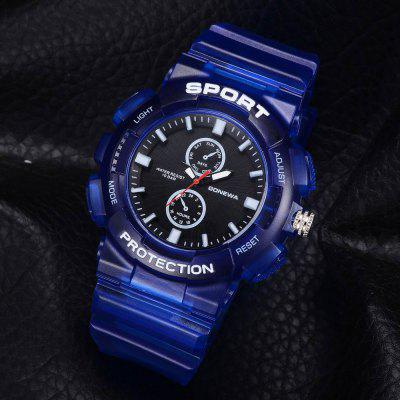 GON042 Men Silicon Band Analog Quartz Sport WatchMens Watches<br>GON042 Men Silicon Band Analog Quartz Sport Watch<br><br>Band material: Silicone<br>Band size: 27 x 2.3 CM<br>Case material: Alloy<br>Clasp type: Pin buckle<br>Dial size: 5.3 x 5.3 x 1.3 CM<br>Display type: Analog<br>Movement type: Quartz watch<br>Package Contents: 1 x Watch<br>Package size (L x W x H): 29.50 x 6.50 x 1.40 cm / 11.61 x 2.56 x 0.55 inches<br>Package weight: 0.0510 kg<br>Product size (L x W x H): 27.00 x 5.30 x 1.30 cm / 10.63 x 2.09 x 0.51 inches<br>Product weight: 0.0490 kg<br>Shape of the dial: Round<br>Watch mirror: Mineral glass<br>Watch style: Trends in outdoor sports, Retro, Business, Fashion, Casual<br>Watches categories: Men