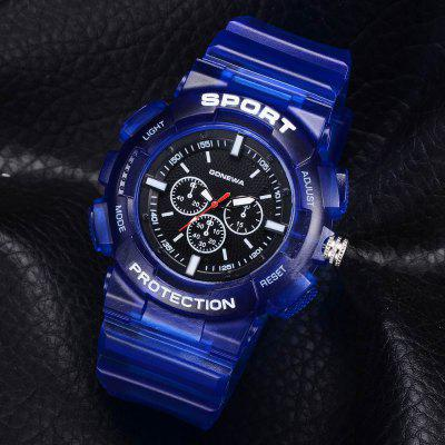 GON044 Men Silicon Band Analog Quartz Sport WatchMens Watches<br>GON044 Men Silicon Band Analog Quartz Sport Watch<br><br>Band material: Silicone<br>Band size: 27 x 2.3 CM<br>Case material: Alloy<br>Clasp type: Pin buckle<br>Dial size: 5.3 x 5.3 x 1.3 CM<br>Display type: Analog<br>Movement type: Quartz watch<br>Package Contents: 1 x Watch<br>Package size (L x W x H): 29.00 x 6.50 x 1.40 cm / 11.42 x 2.56 x 0.55 inches<br>Package weight: 0.0510 kg<br>Product size (L x W x H): 27.00 x 5.30 x 1.30 cm / 10.63 x 2.09 x 0.51 inches<br>Product weight: 0.0490 kg<br>Shape of the dial: Round<br>Watch mirror: Mineral glass<br>Watch style: Trends in outdoor sports, Retro, Business, Fashion, Casual<br>Watches categories: Men