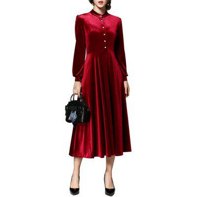 Buy Stand Collar Long-sleeved Velvet Dress RED 2XL for $39.60 in GearBest store