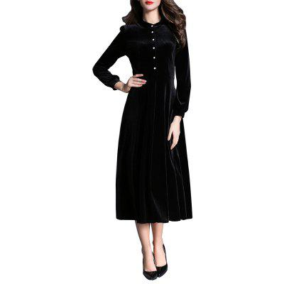 Buy Stand Collar Long-sleeved Velvet Dress BLACK S for $39.60 in GearBest store