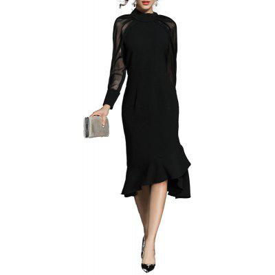 Fashion Stand Collar Long-sleeved Fishtail Dress