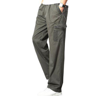 Casual Elastic Waist Multi-Pocket Large Trousers