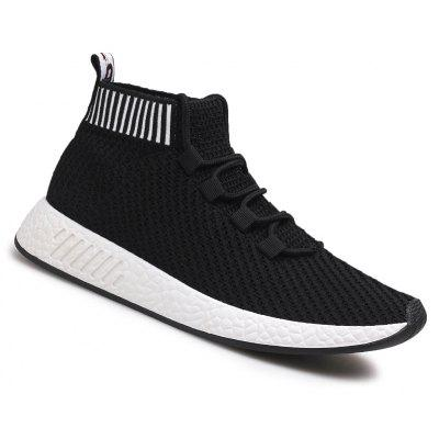 The New Solid Color Striped Fly Weaving Casual Shoes