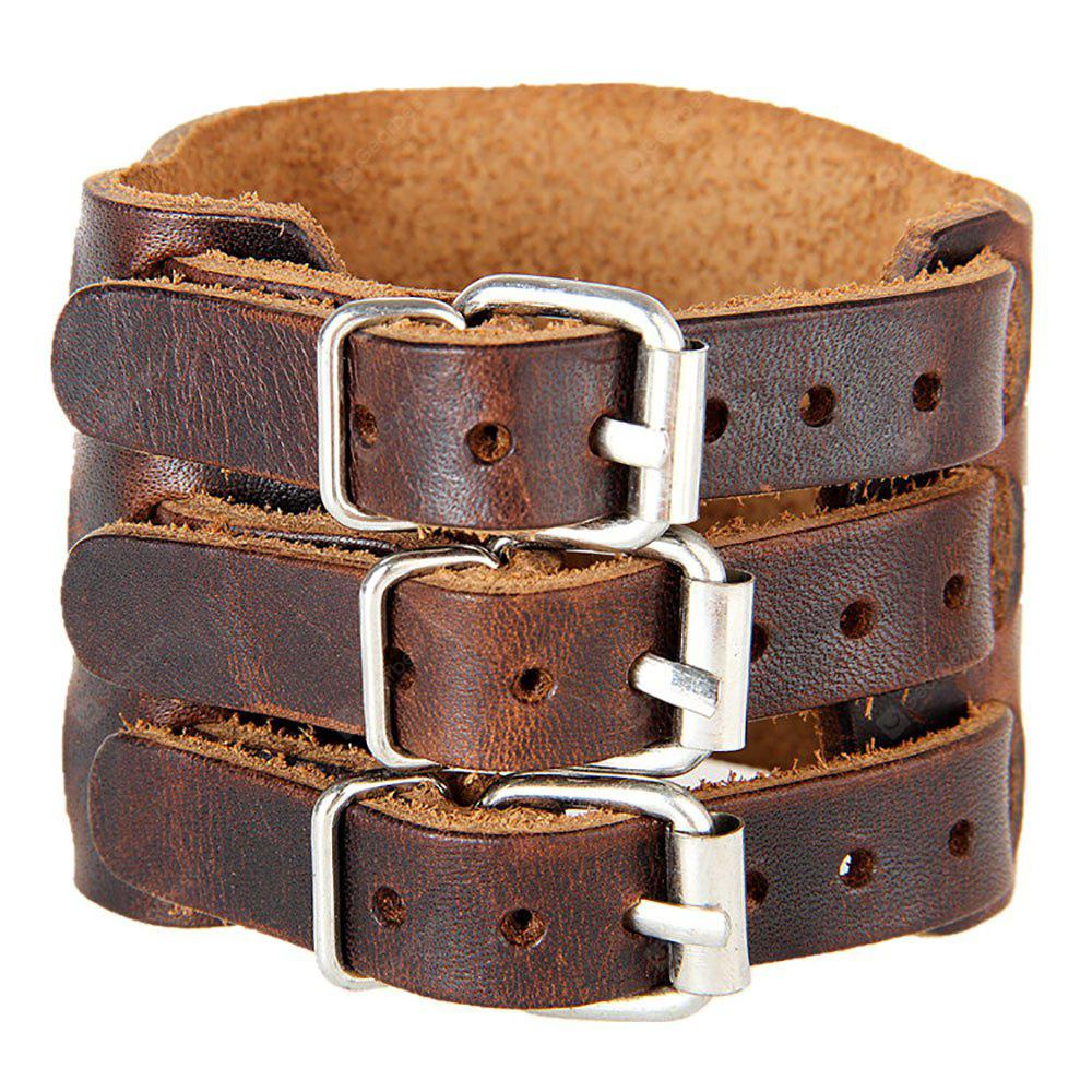 Europa y Estados Unidos Trendy Brazalete ancho de los hombres Trendy Exagerado Wide Leather Double