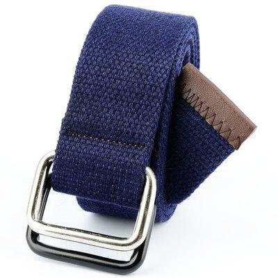Fashion Design Double Ring Metal Buckle Weaving Breathable Waist Belt for Students