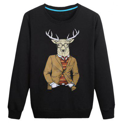 Large Size Goat wih Spectacles Print Crew Neck Long Sleeve Sweatshirt