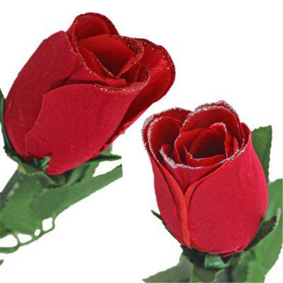 Valentine Day Single Wrapped Artificial Red Rose with Glitter