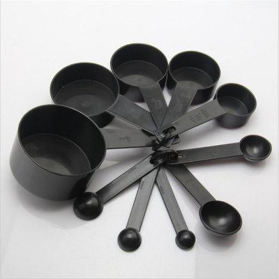10Pcs/Lot Kitchen Plastic Measuring Cups Black Measuring Spoon Cooking  Tools Mini Scales Spoons For