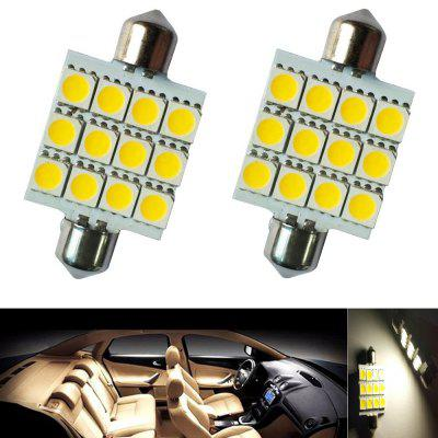 2PCS Festoon 41MM 12LEDS 5050 SMD DC12V LED Auto Car Lamp Decorative Reading Light