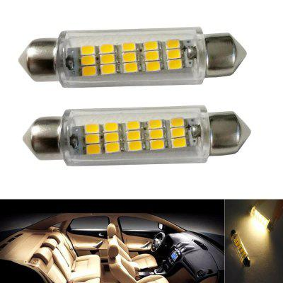 2PCS Festoon 43MM 15LEDS 2835 SMD DC12V LED Auto Car Lamp Decorative Reading Light