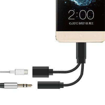 2-in-1 USB-C naar 3,5 mm audio-adapter 2-in-1 USB Type C-kabel Snellaad naar 3,5 mm Audio Jack Hoofdtelefoon Adapter Converter