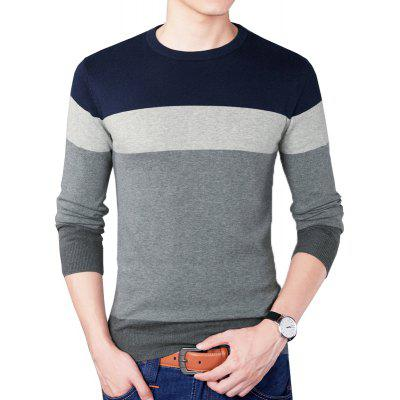 Round Collar Striped Pullover Knitted SweaterMens Sweaters &amp; Cardigans<br>Round Collar Striped Pullover Knitted Sweater<br><br>Collar: Round Collar<br>Hooded: No<br>Material: Cotton<br>Package Contents: 1 x Sweater<br>Package size (L x W x H): 1.00 x 1.00 x 1.00 cm / 0.39 x 0.39 x 0.39 inches<br>Package weight: 0.3600 kg<br>Pattern Type: Patchwork<br>Product weight: 0.3500 kg<br>Size1: M,L,XL,4XL,2XL,3XL,5XL<br>Sleeve Length: Full<br>Sleeve Style: Regular<br>Style: Casual<br>Technics: Computer Knitted<br>Thickness: Standard<br>Type: Pullovers
