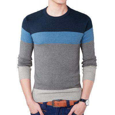 Round Collar Striped Pullover Knitted Sweater