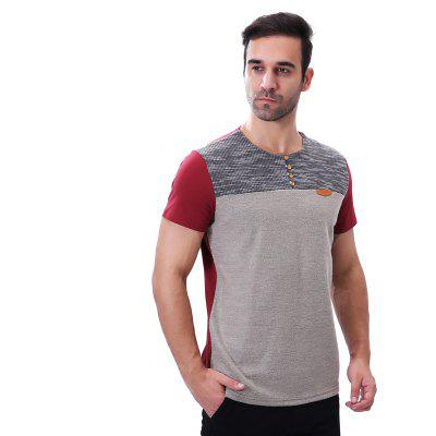 Round Collar Buttons Patchwork Short Sleeve T ShirtMens T-shirts<br>Round Collar Buttons Patchwork Short Sleeve T Shirt<br><br>Collar: Round Neck<br>Embellishment: Button<br>Fabric Type: Broadcloth<br>Material: Cotton, Polyester<br>Package Contents: 1 x T-Shirt<br>Pattern Type: Patchwork<br>Sleeve Length: Short Sleeves<br>Style: Fashion<br>Weight: 0.2500kg
