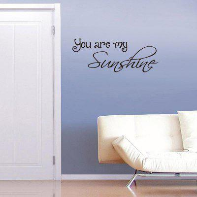 DSU English Bedroom Decorative Wall Stickers Proverbs You Are My SunshineWall Stickers<br>DSU English Bedroom Decorative Wall Stickers Proverbs You Are My Sunshine<br><br>Brand: DSU<br>Function: Decorative Wall Sticker, 3D Effect<br>Material: Vinyl(PVC)<br>Package Contents: 1 x Wall Sticker<br>Package size (L x W x H): 45.00 x 3.00 x 3.00 cm / 17.72 x 1.18 x 1.18 inches<br>Package weight: 0.1300 kg<br>Product size (L x W x H): 57.00 x 28.60 x 0.10 cm / 22.44 x 11.26 x 0.04 inches<br>Product weight: 0.0500 kg<br>Quantity: 1<br>Subjects: Fashion,Others<br>Suitable Space: Living Room,Bedroom<br>Type: Plane Wall Sticker