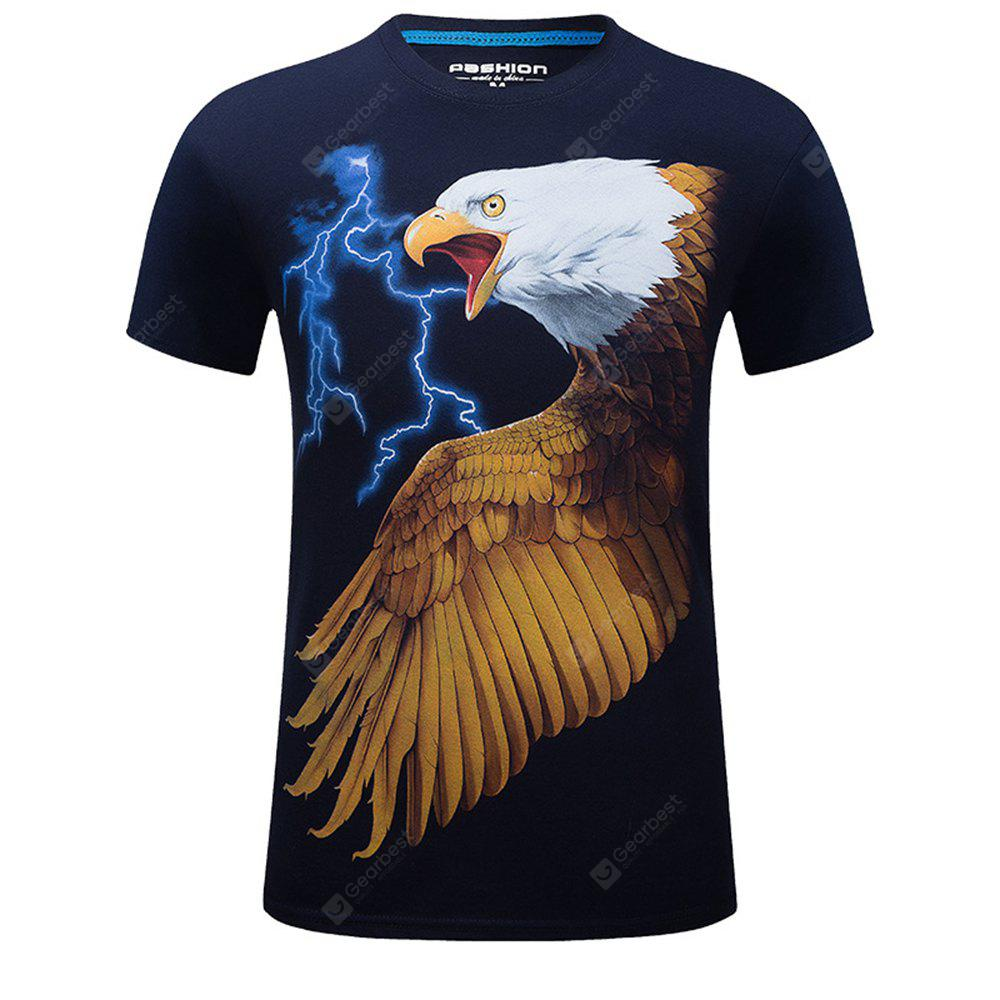 2018 New Mens 3D Eagle Print Round Collar Short Sleeves Plus Size T-Shirt