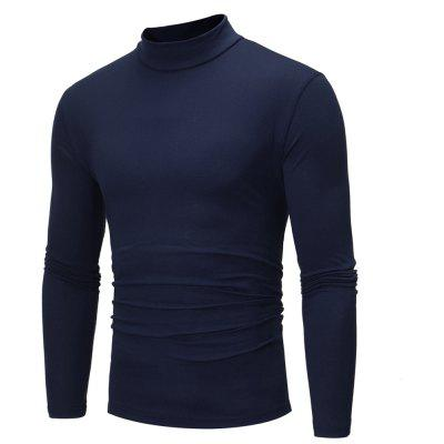 Fashion Color All-Match Turtleneck Mens Long Sleeve T-Shirt Bottoming Shirt