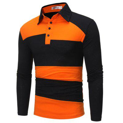 Fashion Business Collage Lapel Long Sleeved POLO Shirt