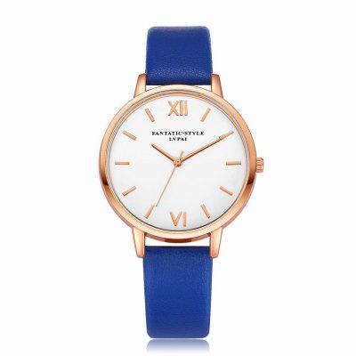 Lvpai P091-R Women Simple Leather Strap Quartz Watches