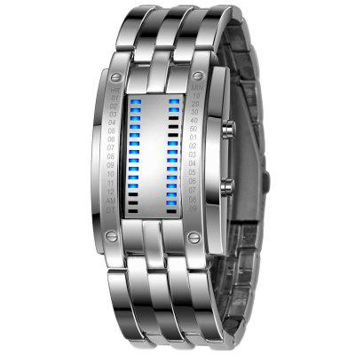 REEBONZ Water Resistant Men Date Binary Digital LED Bracelet Watch Rectangle Dial Sports Couple Watch
