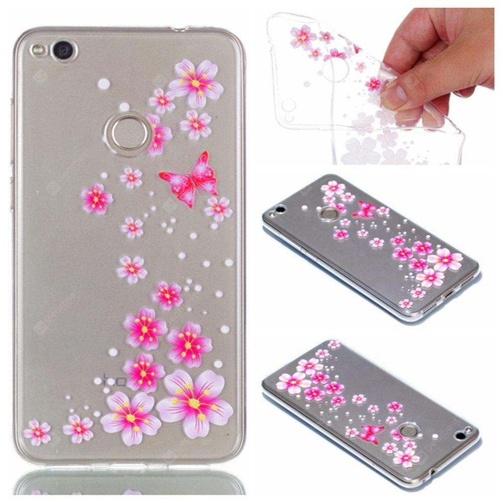 for Huawei P8 Lite 2017 Flower and Butterfly Painted Soft Clear TPU Mobile Smartphone Cover Shell Case