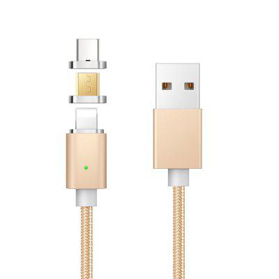 Fast Charging Nylon Braided 3 in 1 Strong Magnetic USB Data Sync Cable for iphone Android Type-C