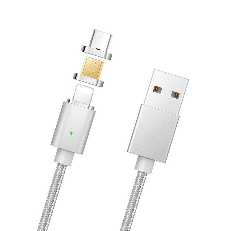 Fast Charging Nylon Trançado 3 em 1 Forte Magnetic USB Data Sync Cable para iphone Android Type-C