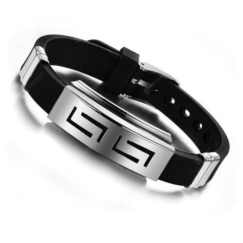 Modelos Moda Pulsera Punk Black Rubber Silicone Stainless Steel Hombres Pulseras Brazaletes
