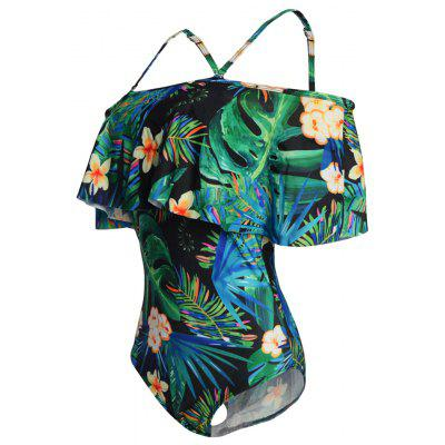 One Shoulder Printing One-Piece Swimsuit