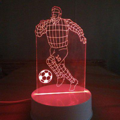 3D Visual Bulb Optical Illusion Colorful LED Sport Athlete Playing Football 3D Night Lamp Desk Light for Kids