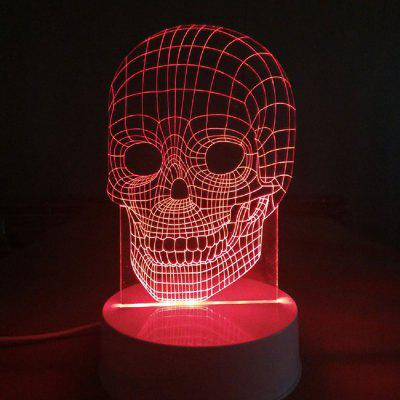 Creative Halloween Gift 3D Glow Party Decor Lamp Skull Pattern Remote Control LED Night Desk Table Lamp