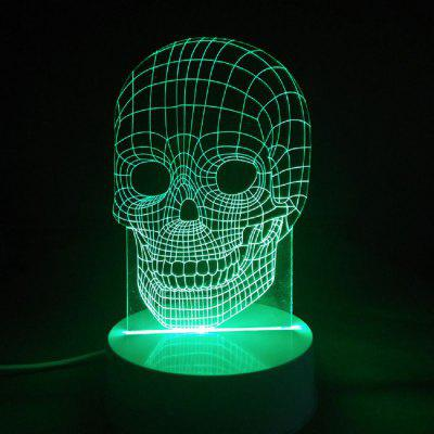 Creative Halloween Gift 3D Glow Party Decor Lamp Skull Pattern Remote Control LED Night Desk Table Lamp skull 3d cartoon usb mood led lamp creative atmosphere table lamp