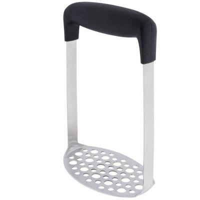 Stainless Steel Potato Masher with Broad Ergonomic Horizontal Handle Fine Grid Mashing Plate