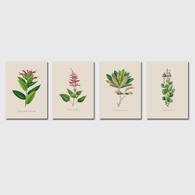 QiaoJiaHuaYuan Frame Canvas Without Frame Canvas Living Room Sofa Background Plant Leaves Four Pieces of Decorative Hang