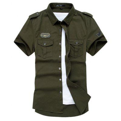Summer New Mens Short Sleeves Military Uniform Shirt