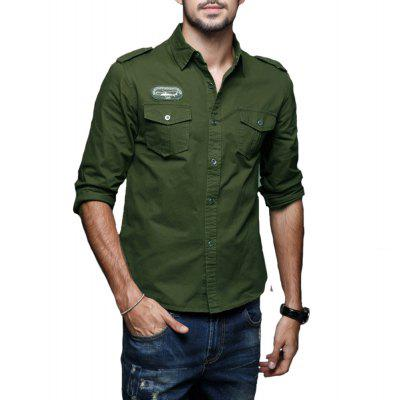 2018 Spring New Mens Casual Long Sleeve Pure Cotton Military Uniform Plus Size Shirt