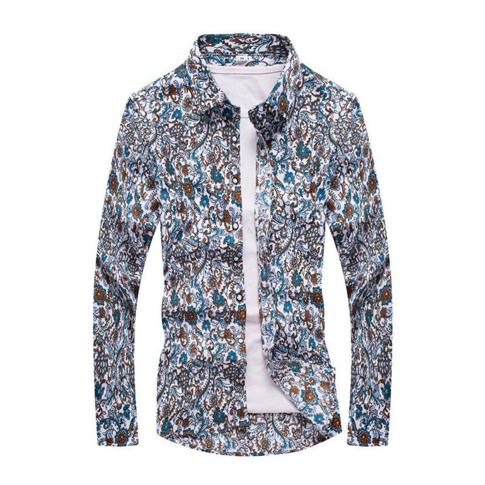 Mens Long Sleeve Fashion Floral Plus Size Shirt