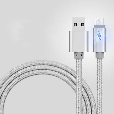 Cable for Micro V8 USB 2.0 Led Breath Light Nylon Braided Charging Data Charger- SILVER