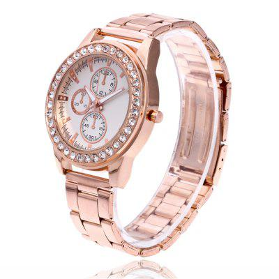 ZhouLianFa New Outdoor Luxury Diamond Imitation Three Trend Quartz Watch with Gift BoxWomens Watches<br>ZhouLianFa New Outdoor Luxury Diamond Imitation Three Trend Quartz Watch with Gift Box<br><br>Band material: Stainless Steel<br>Band size: 23 x 2cm<br>Brand: ZhouLianFa<br>Case material: Alloy<br>Clasp type: Folding clasp with safety<br>Dial size: 4 x 4 x 1cm<br>Display type: Analog<br>Movement type: Quartz watch<br>Package Contents: 1 x Watch , 1 x Box<br>Package size (L x W x H): 12.00 x 8.00 x 9.00 cm / 4.72 x 3.15 x 3.54 inches<br>Package weight: 0.1300 kg<br>Product size (L x W x H): 23.00 x 4.00 x 1.00 cm / 9.06 x 1.57 x 0.39 inches<br>Product weight: 0.0700 kg<br>Shape of the dial: Round<br>Watch mirror: Mineral glass<br>Watch style: Business, Casual, Fashion, Retro, Outdoor Sports, Childlike, Classic<br>Watches categories: Women,Female table<br>Water resistance: No
