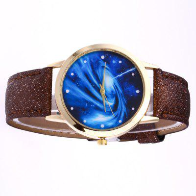 New Rose Gold Dial Blue Sky Whirlpool Crystal Quartz Watch with Gift Box