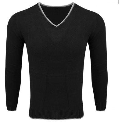 Men's Spring and Autumn Long-Sleeved Solid Color V-Neck  Comfortable Sweater