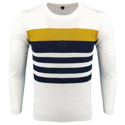 Men's Spring and Autumn Fashion Casual  Long-Sleeved Hit Color Round Neck Knit Sweater