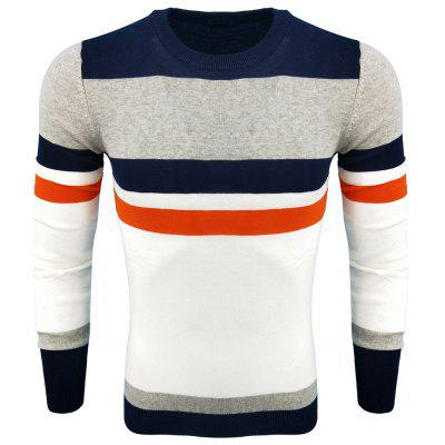 Men's Spring and Autumn Fashion Casual Long-Sleeved Self-Cultivation Hit  Round Neck Knit Sweater