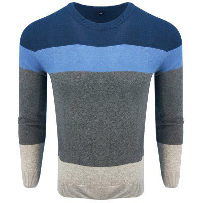 Spring and Autumn Long-Sleeved Round Neck Color Hit Fashion Casual Knit Sweater
